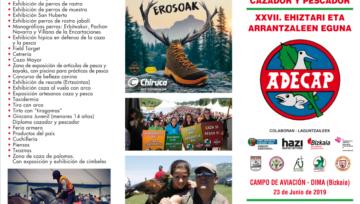 Tríptico actividades programadas para el XVIII Día del Cazador y Pescador que se celebrará en Dima el 23 de junio de 2019